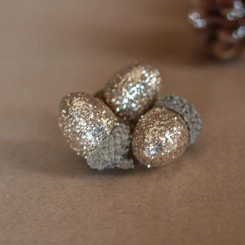 15 Glittery Decorative Acorns, Gold Acorn Decorations, Sparkling Christmas Table Decorations