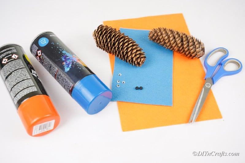craft supplies pinecones craft paper scissors