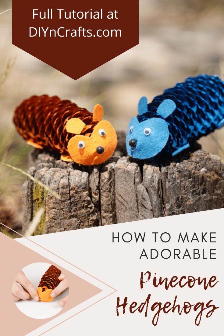 Pinecone hedgehog craft idea