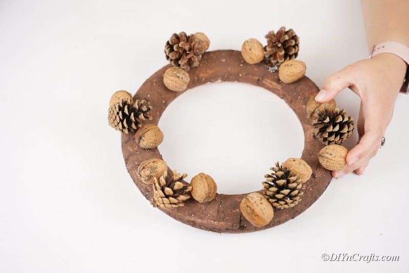placing nuts on a spray painted wreath on the table
