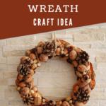 Rustic autumn wreath against a brick wall