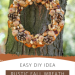 Rustic autumn wreath hanging from a tree