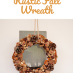 Rustic fall wreath hanging from a door