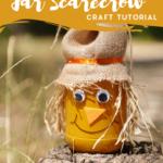 Scarecrow jar sitting on a stump