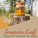 Scarecrow made from a jar sitting outside