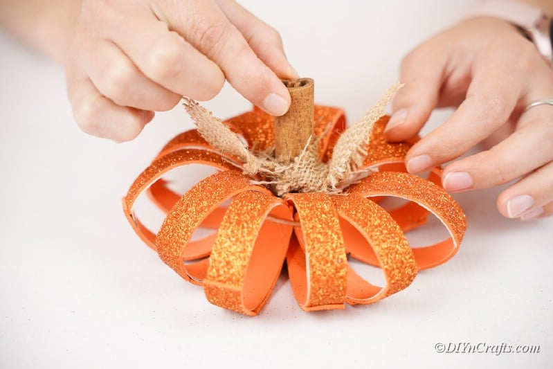 final decoration for toilet paper roll pumpkin craft made with hands