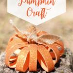 Toilet paper roll pumpkin craft on a stump