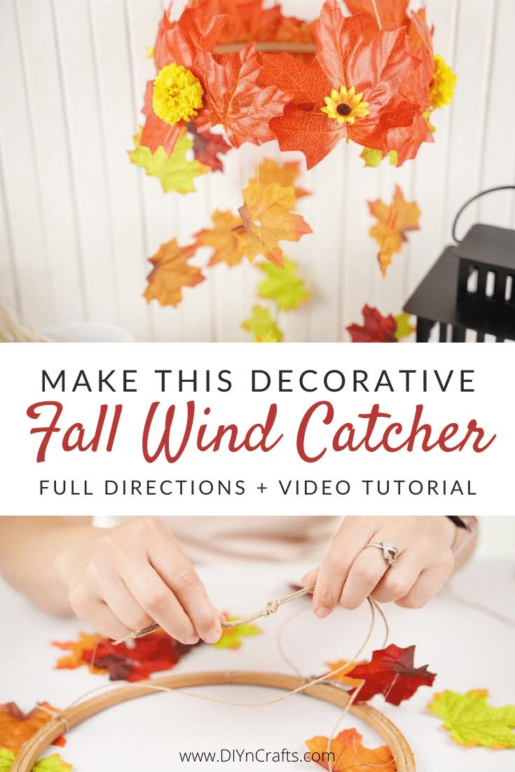 Steps for making a DIY fall leaf wind catcher craft