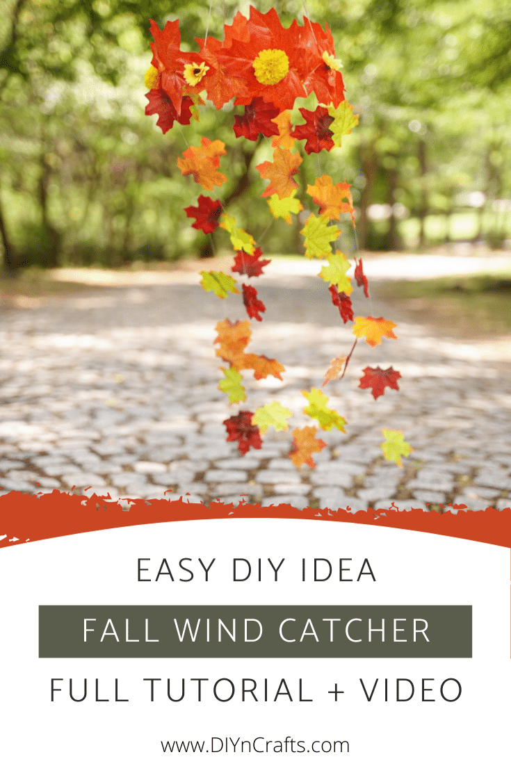 Easy DIY fall wind catcher hanging outside