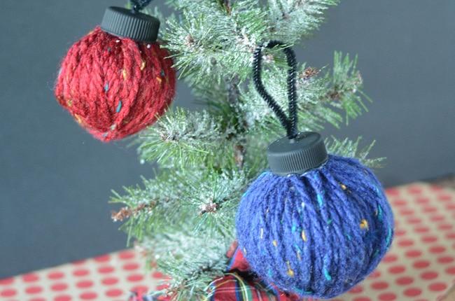Yarn ball ornament on tree