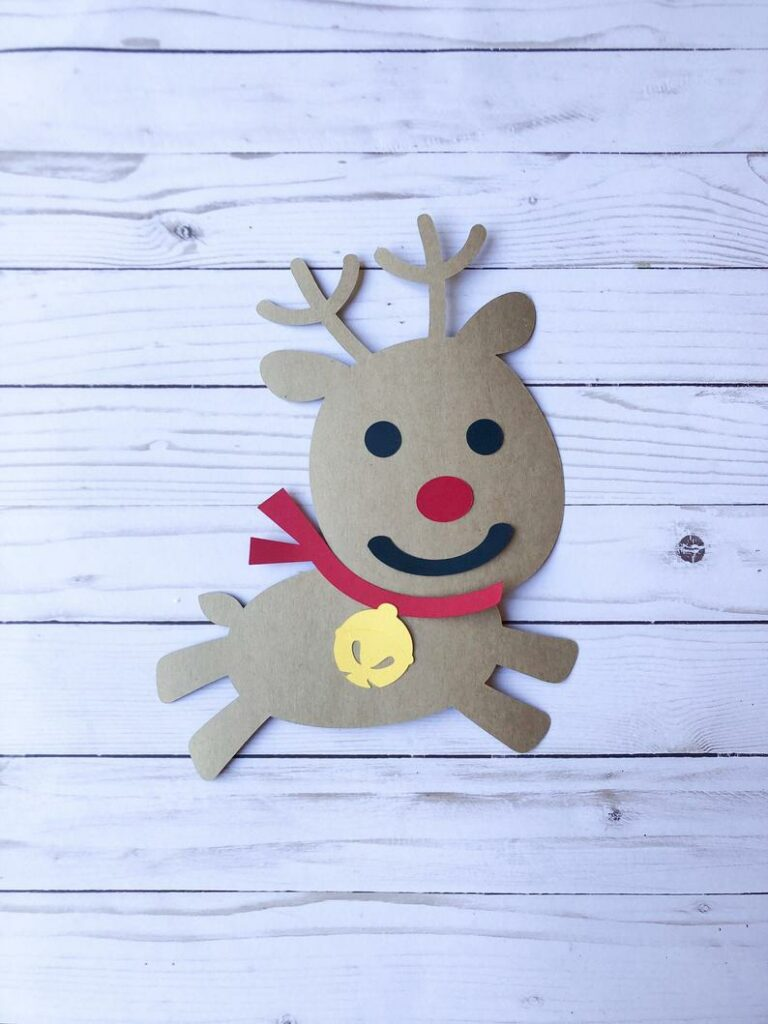 Paper rudolph on table