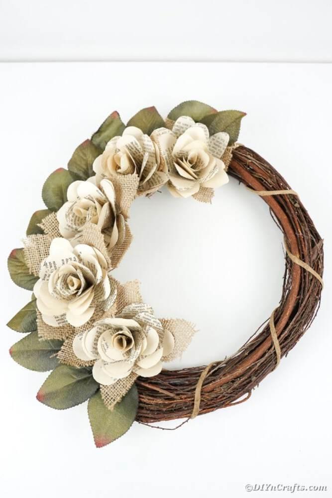 Rose grapevine wreath