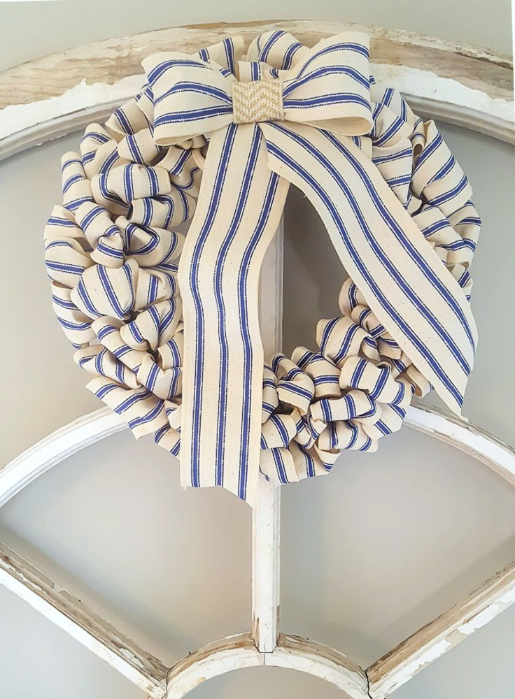 White and blue stripe wreath