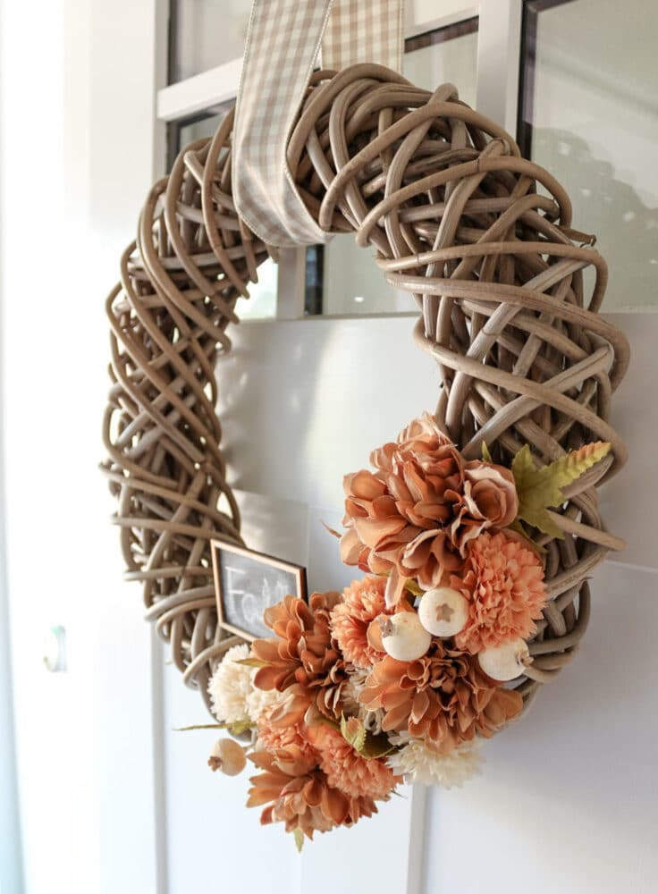 Grapevine wreath with flower