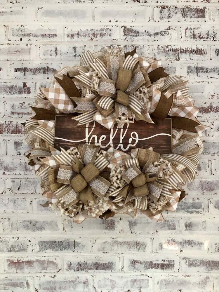 Burlap ribbon hello wreath