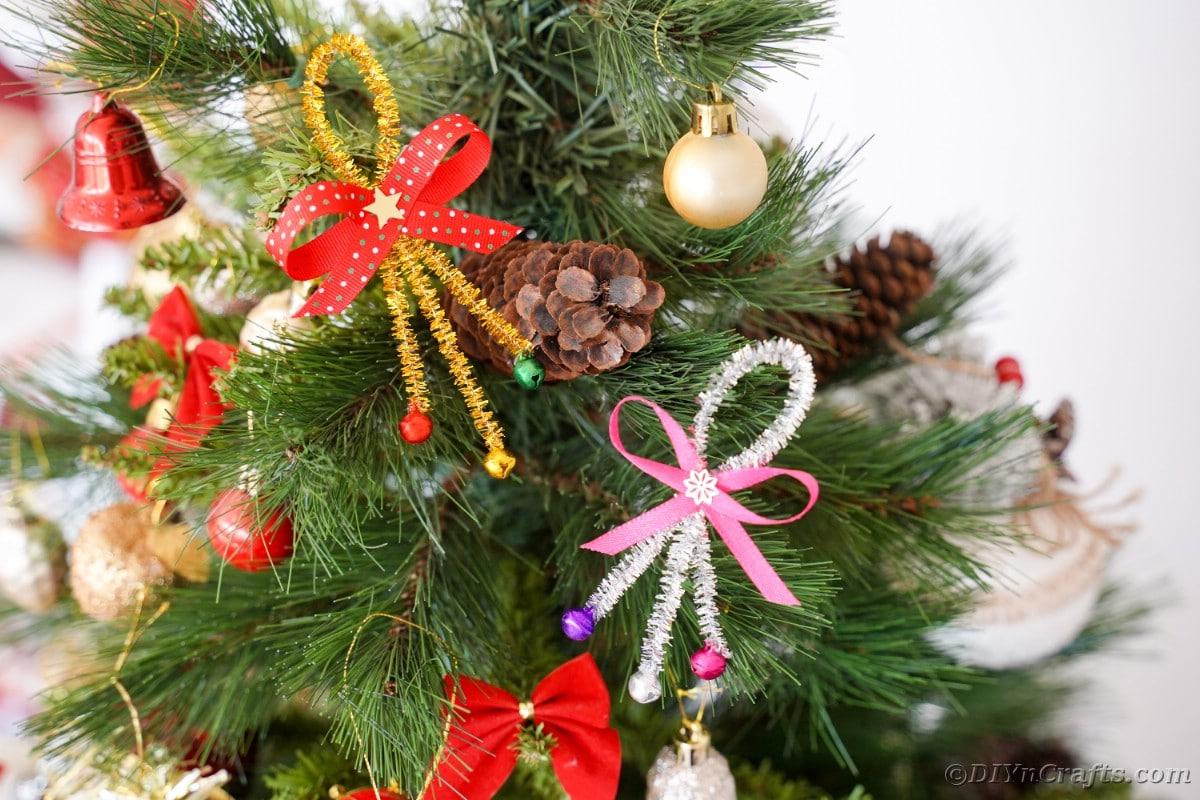 Jingle bell ornaments on tree