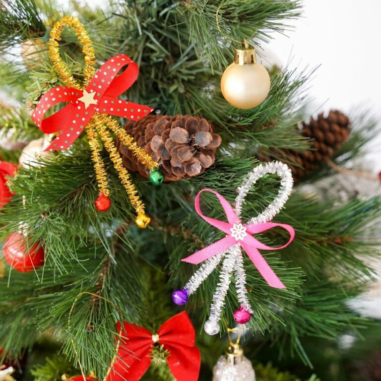 Jingle bell ornaments on tree