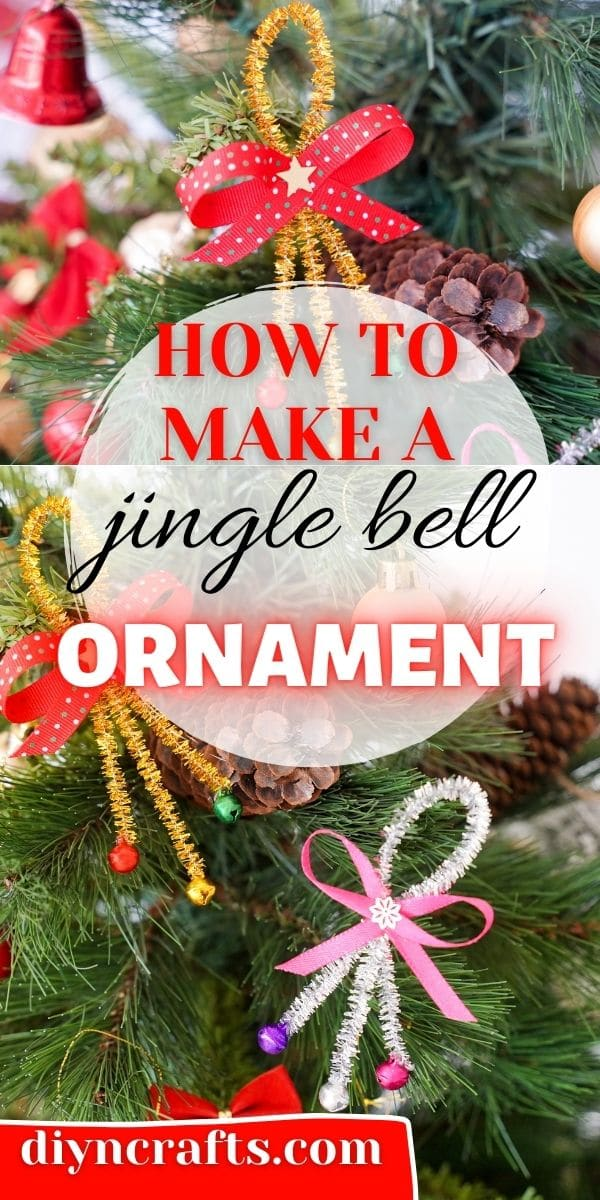 Pipe cleaner jingle bell ornament collage