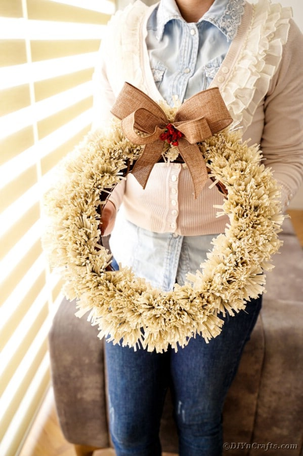 Fringed book page wreath