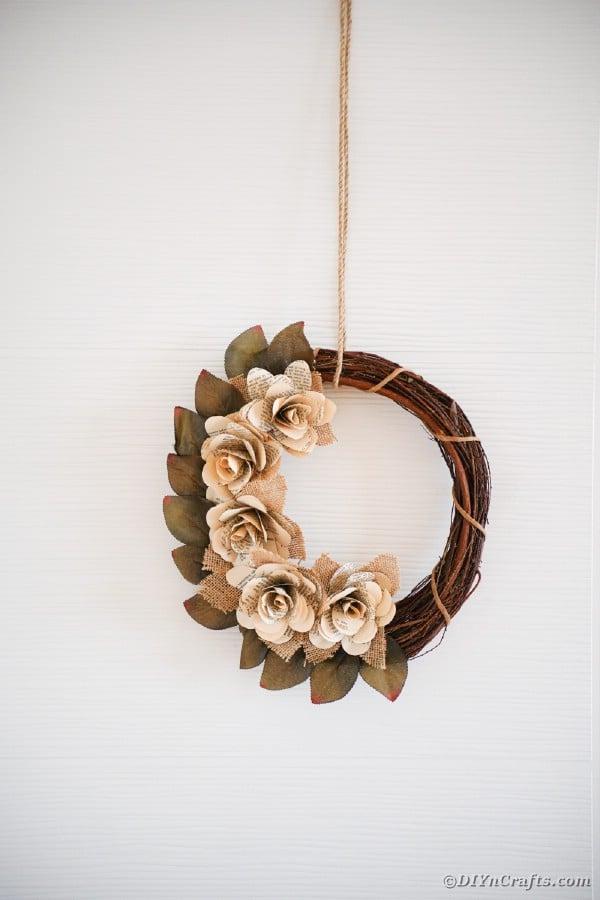 Rustic paper heart wreath