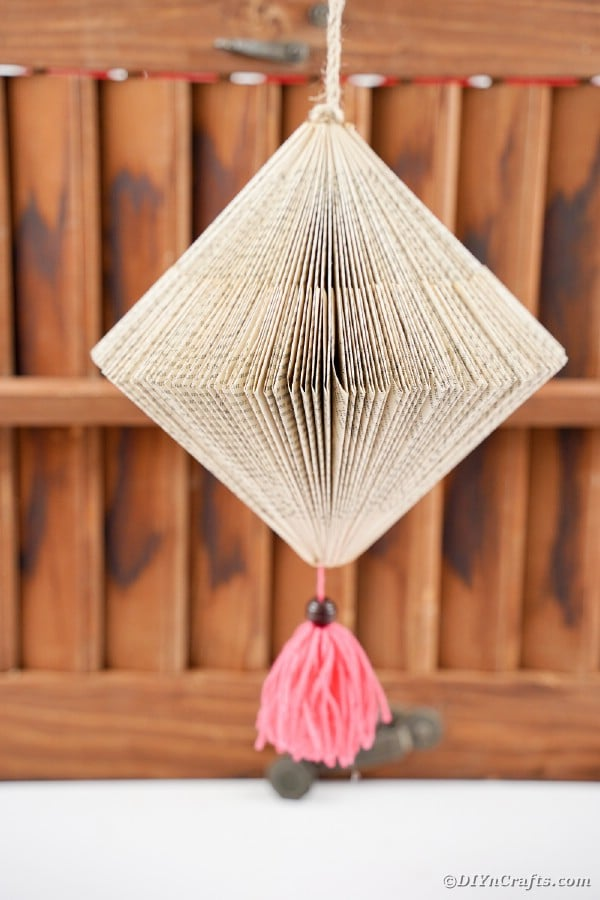 Hanging paper lantern with tassel