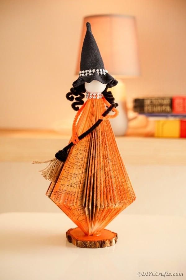 Orange paper halloween witch