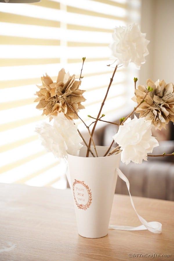 Paper flower in vase