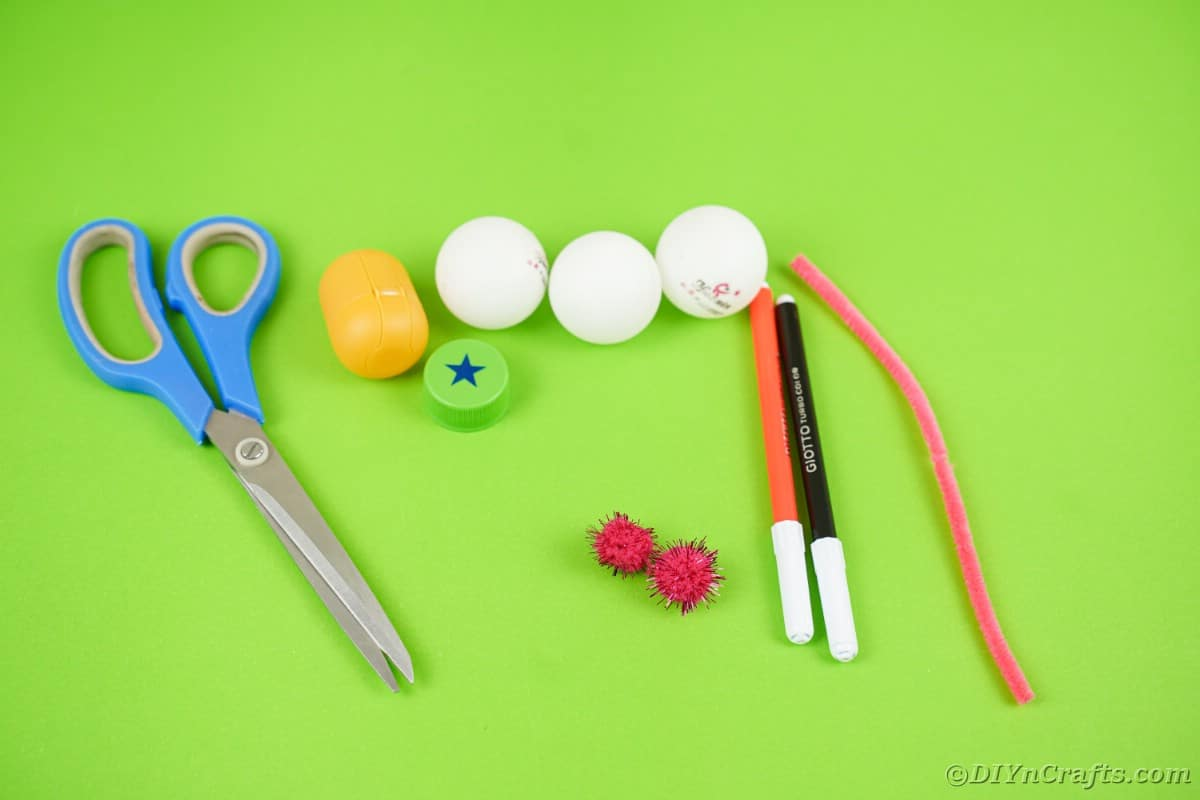 Ping pong ball ornament supplies