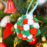 Pom pom ornament on tree