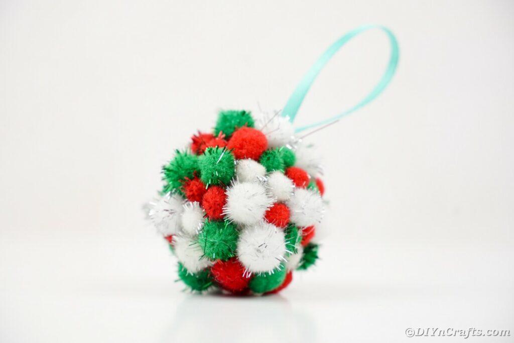 Pom Pom ornament on white surface