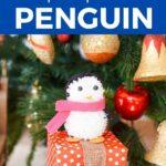 Penguin sitting on box