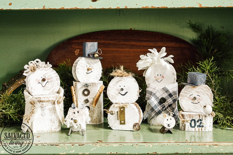 Wood and bolt snowman family