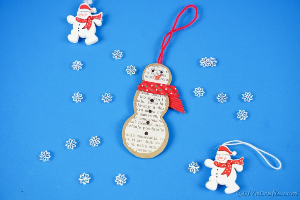 Snowman ornament on blue surface