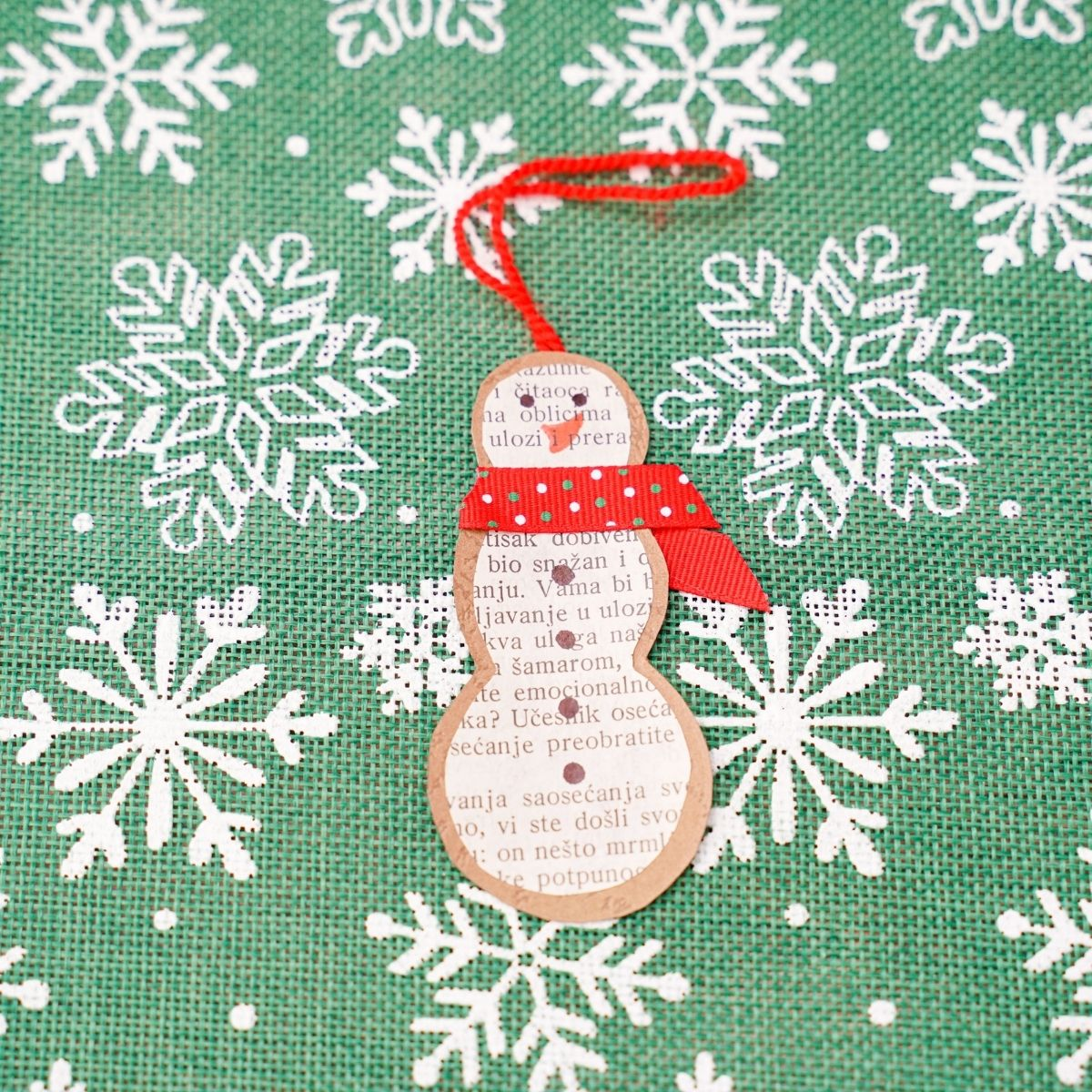 Rustic Old Book Page Snowman Paper Ornament