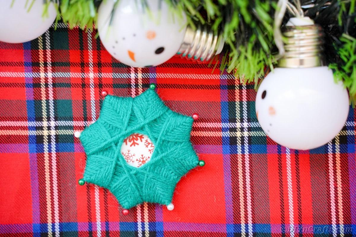 Yarn star on flannel