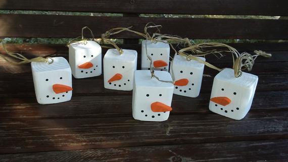 Wooden snowmen ornament set of 6 | Etsy
