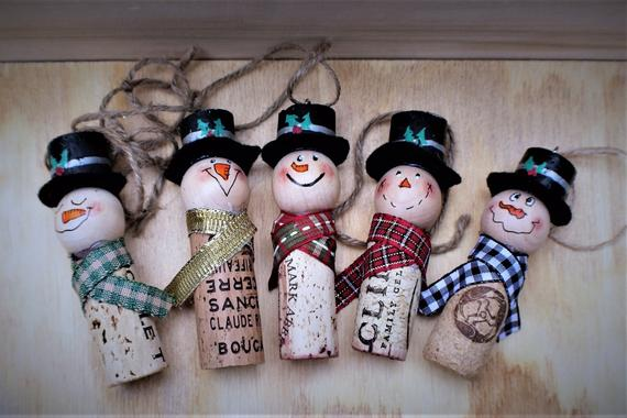 Upcycled Cork Snowman Christmas Ornaments FREE SHIPPING | Etsy