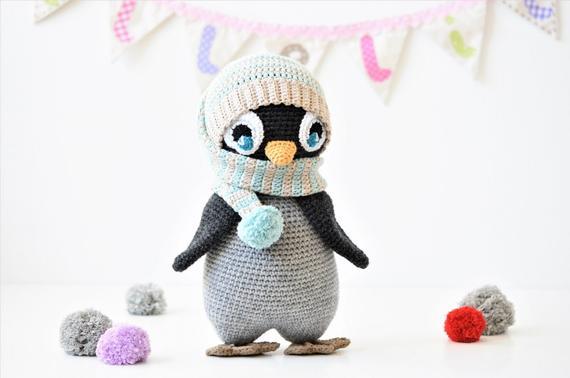 PATTERN Pompom hat penguin amigurumi pattern crochet | Etsy