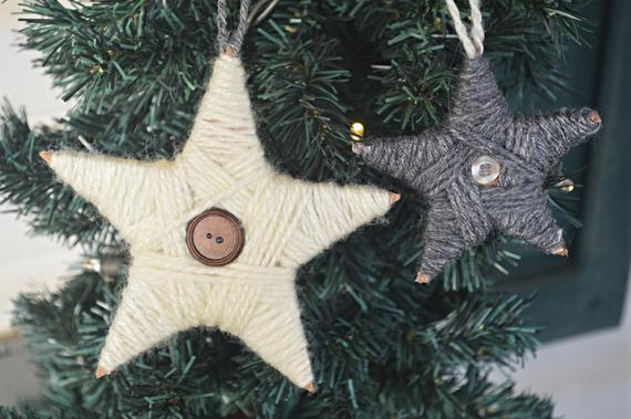 Star Ornaments Yarn and Buttons Hand-made | Etsy