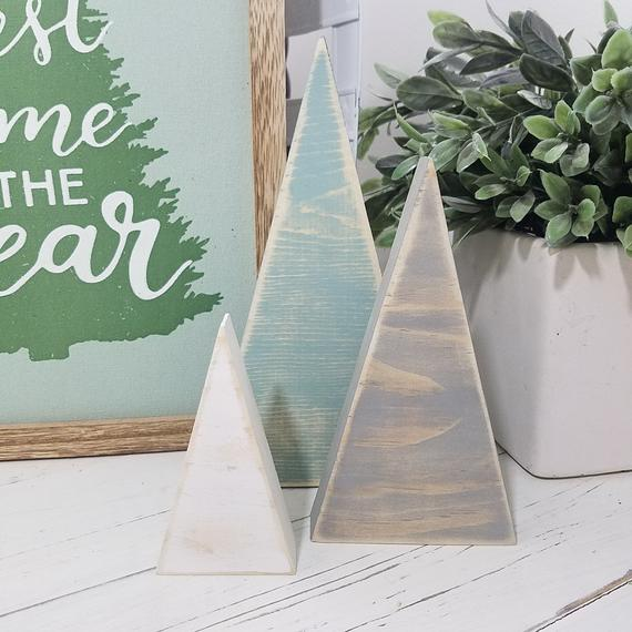 Set of 3 Farmhouse Wooden Christmas Trees Distressed Home | Etsy