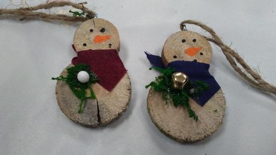 Rustic log slab snowman ornament set of 6 | Etsy