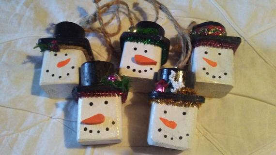 Wooden snowman blocks with top hat ornament set of 6 | Etsy