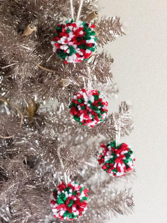 Sparkle Pom Pom Ornament Set/Christmas Tree Ornaments/Pom Pom | Etsy