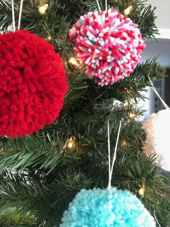 Set of 6 Large Pom Pom Christmas Ornaments / Multi Colored | Etsy
