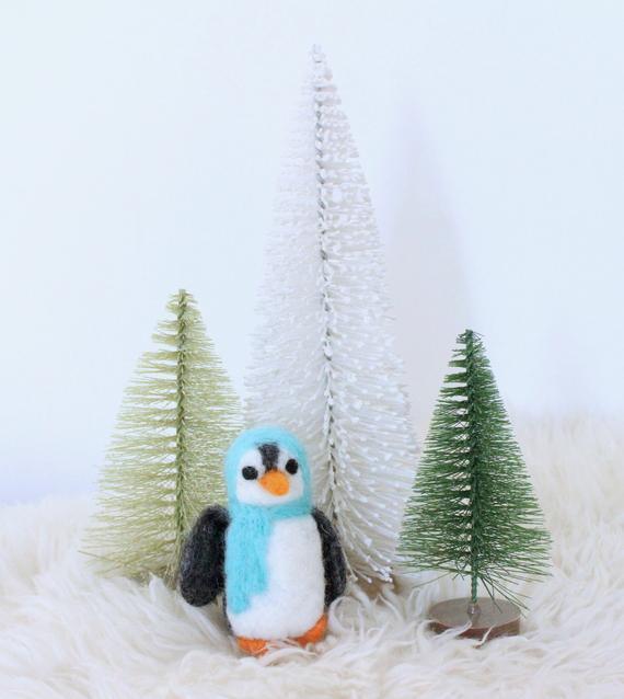 Felt Penguin Aqua hat and scarf | Etsy