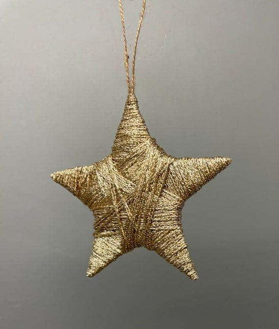 Gold yarn star Christmas decoration Christmas decor | Etsy