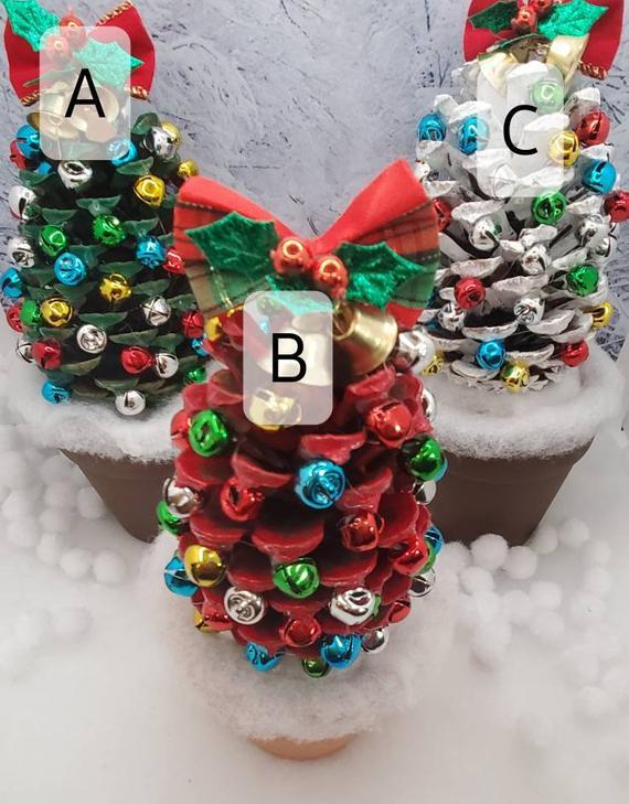 Handmade Pine Cone Jingle Bell Christmas Trees w/Terracotta | Etsy