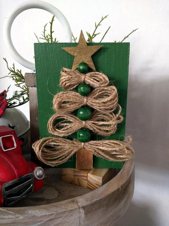 Tiered Tray Sign Jute Twine Christmas Tree Winter Sign | Etsy