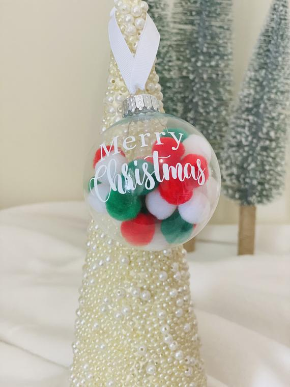 Pom Pom Ornament Chritsmas Ornament Personalized Christmas | Etsy