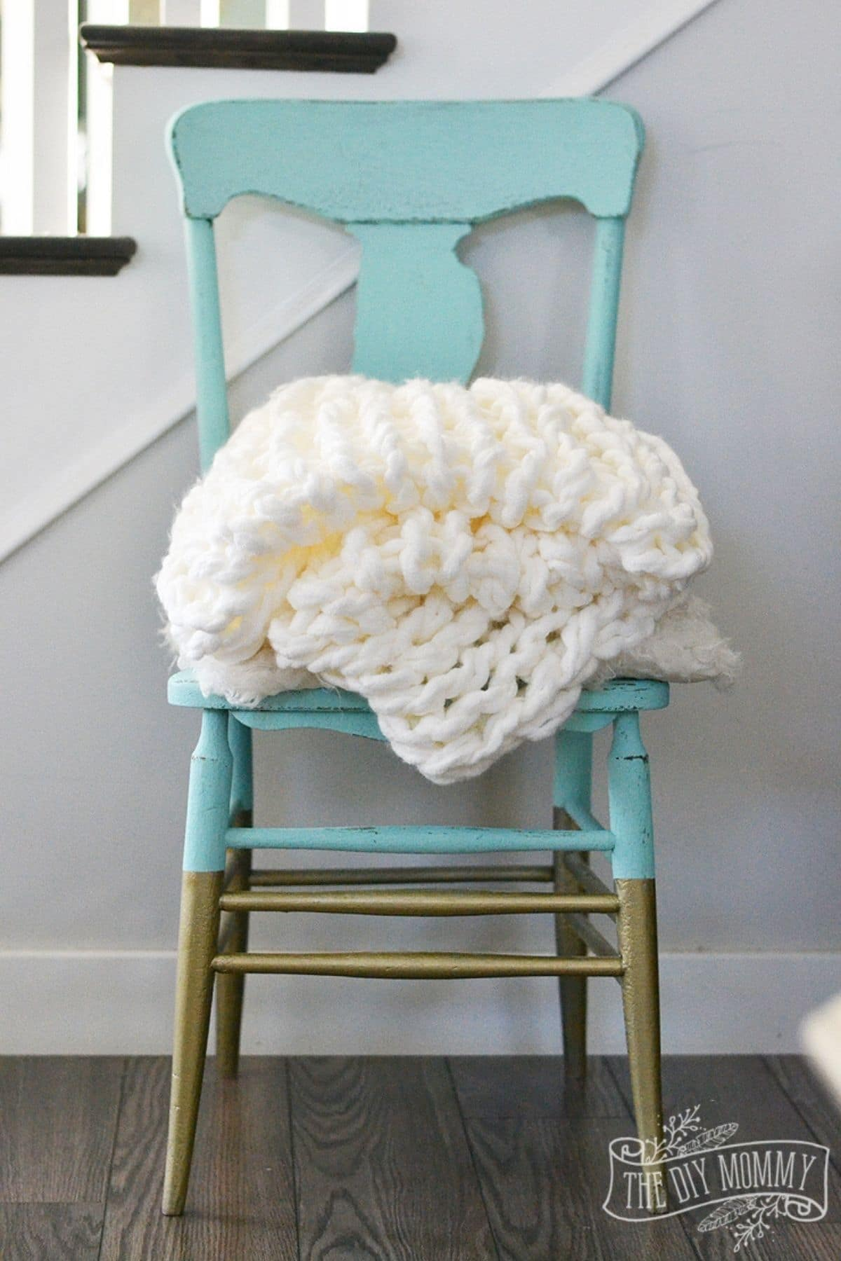 Knit blanket on chair